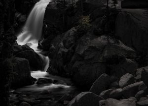 long exposure of Alberta Falls in Colorado
