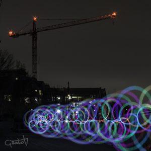 Pixel stick circles on Brentford waterfront