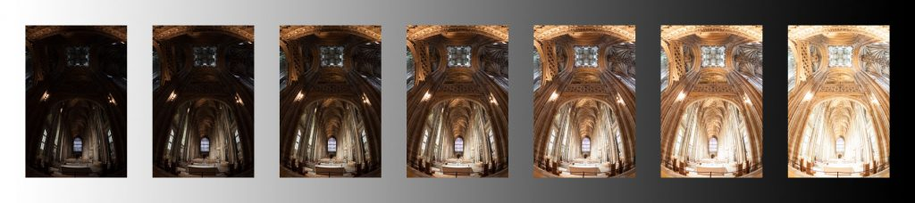 Bracketed exposures of Canterbury Cathedral